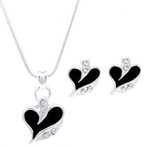 Ladies Black Enamel & Cubic Zirconia Love Heart Shaped Stud Earrings & Necklace Set Perfect Gift for Christmas, Valentines Day, Mothers Day Birthdays